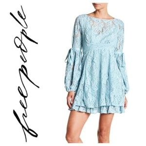 Free People Ruby Lace Crochet Mini Dress Blue